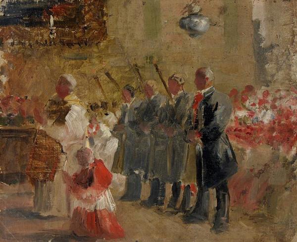 Joža Uprka – Vinaři z Blatnice pod Antoníčkem v den zahájení vinobraní na mši svaté