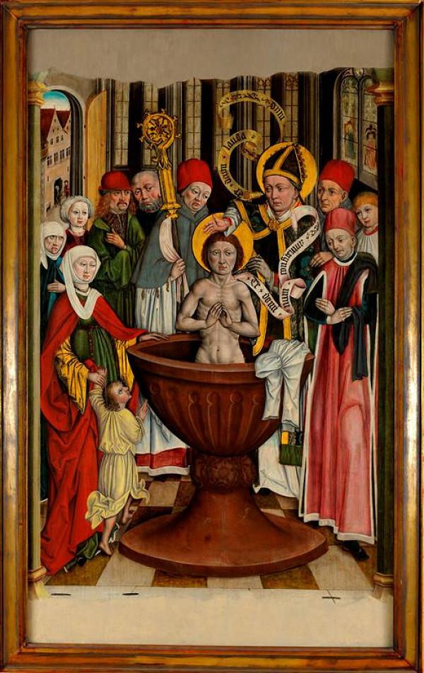 neznámý malíř moravský - Křest sv. Augustina (původně revers)