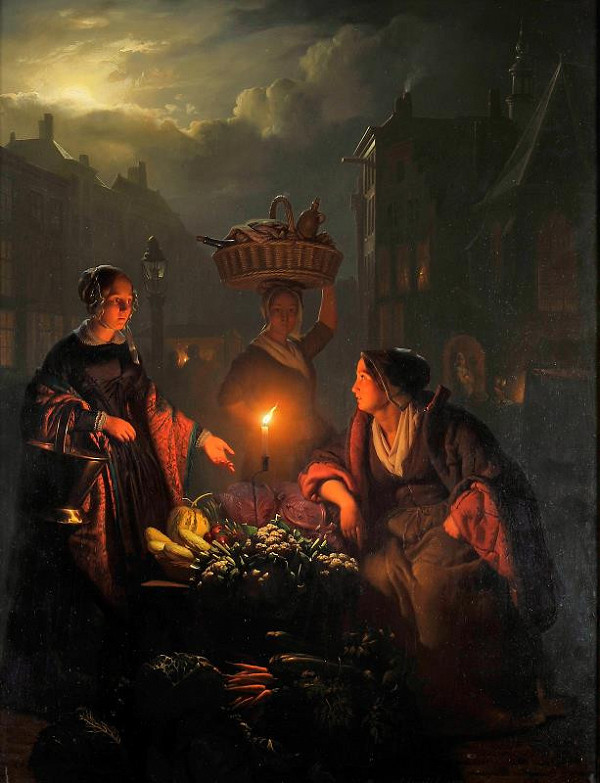 Petrus van Schendel - Trh. Prodavačka zeleniny