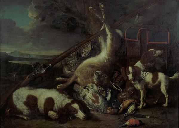 Jan Fyt (Fijt) – Lovecké zátiší s mrtvými ptáky, zajícem a honicími psy