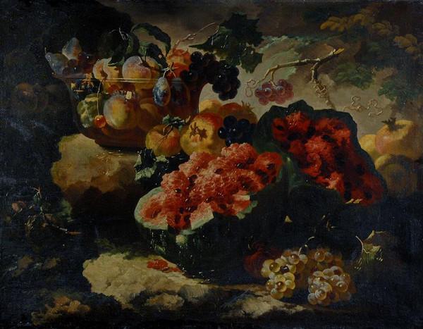 Giovanni Paolo Castelli zv. Spadino - Zátiší s melounem, hrozny, skleněnou mísou a ovocem
