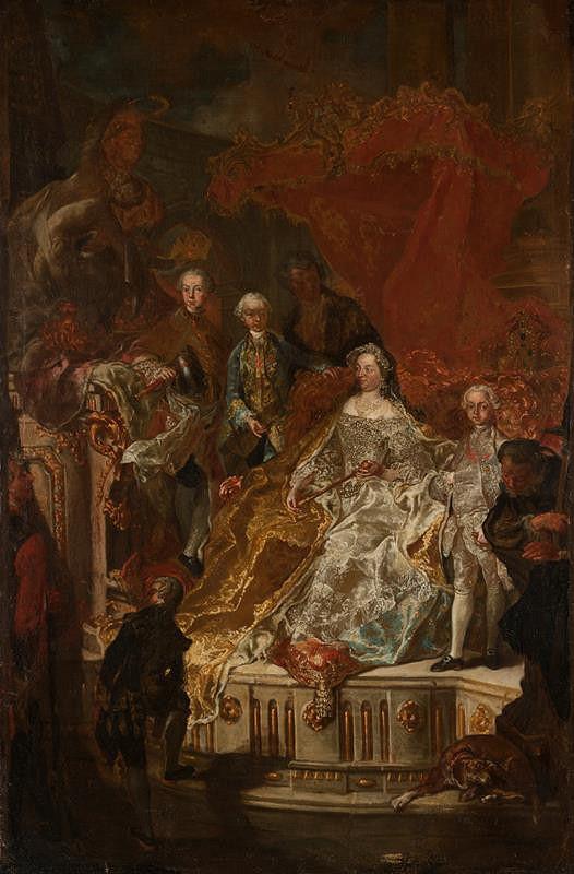 Franz Anton Palko - Císařovna Marie Terezie se svými mladšími syny arcivévody Leopoldem, Ferdinandem a Maximiliánem – skica k obrazu pro letní refektář premonstrátského kláštera v Louce u Znojma