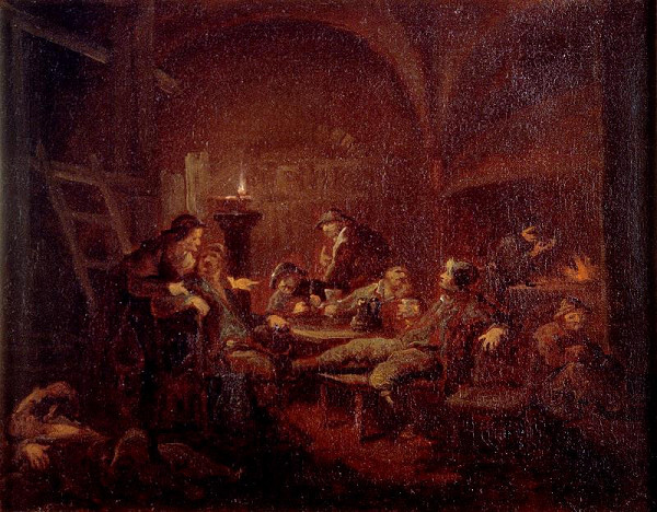 neznámý malíř středoevropský – Genrový výjev (V hospodě)