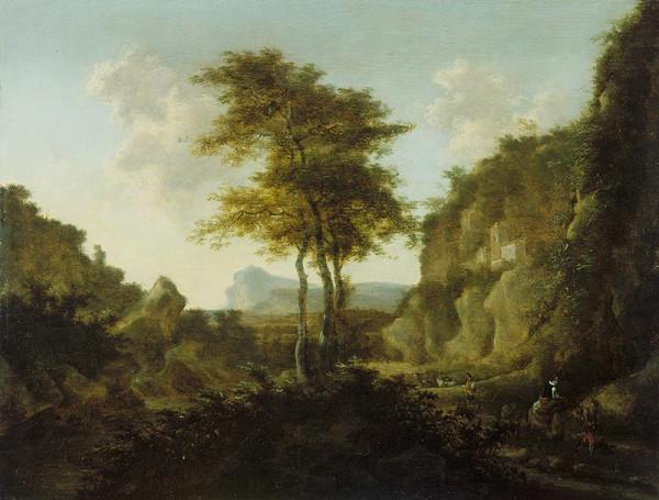 Willem de Heusch - Skalnatá krajina s cestujícími