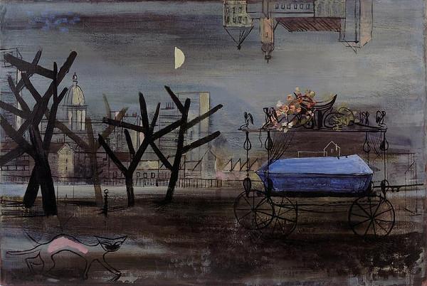 František Kaláb – Město s pohřebním vozem a kočkou