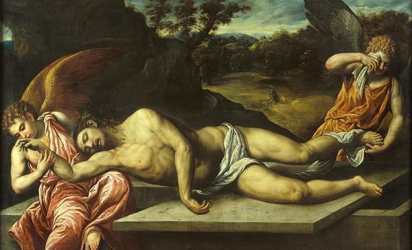 Paris Bordone - Mrtvý Kristus oplakáván anděly
