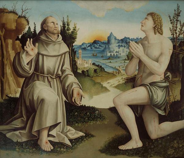 Bernardino Zaganelli - Sv. František a sv. Šebestián v krajině