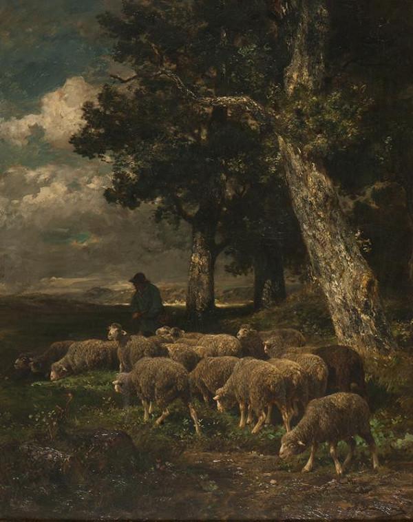Charles Émile Jacque – Pastýř se stádem