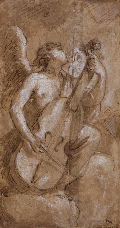 neznámý malíř italský – Anděl hrající na violoncello