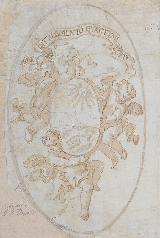 neznámý malíř italský - Tři andílci se štítem