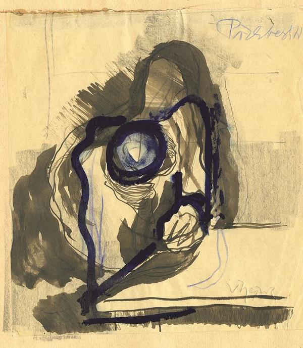 Václav Hejna – Studie sedící postavy z profilu