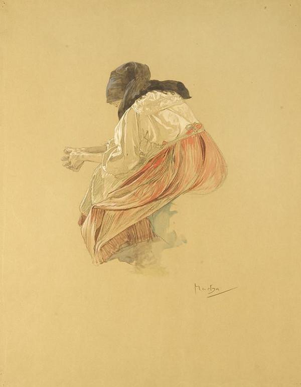Alfons Mucha – Studie sedící ženy