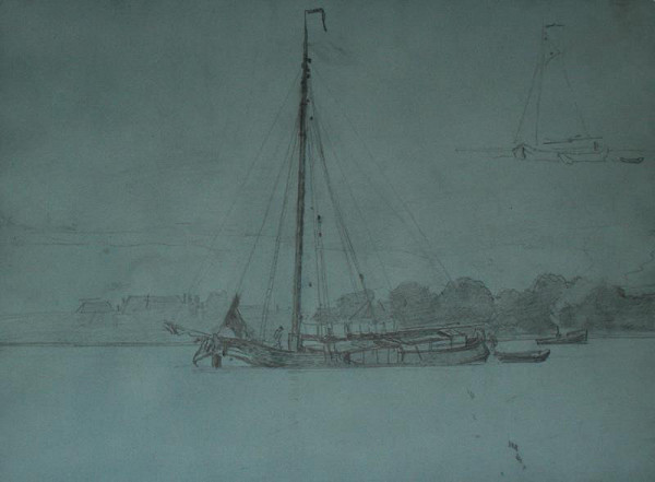 Eugen (Evžen) Jettel - Krajina s řekou a plachetnicí