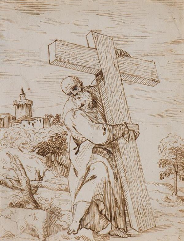 neznámý malíř - Světec s křížem