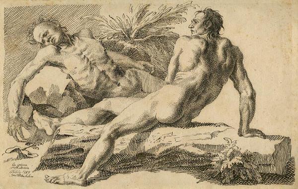 Josef Winterhalder I. (Winterhalter) – Studie dvou mužských aktů (La prima achatemia)