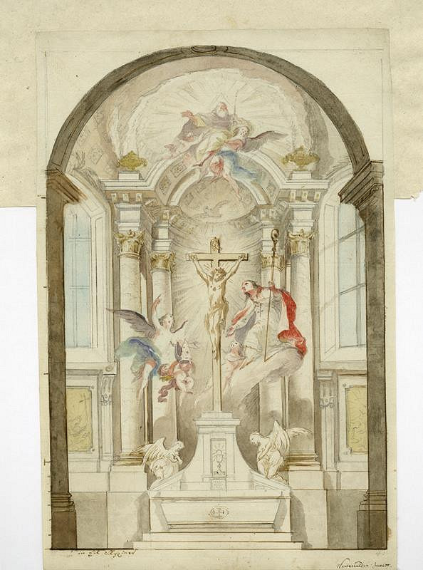 Josef Winterhalder II. (Winterhalter) - Návrh na oltář s krucifixem