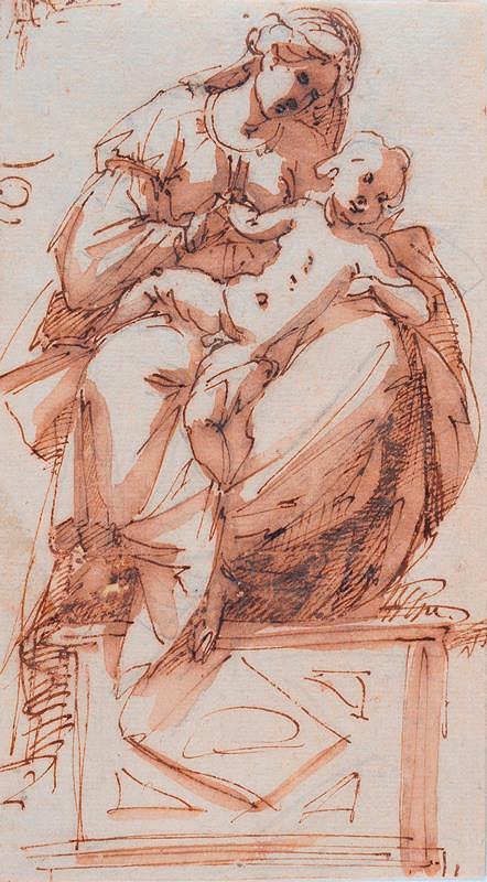 neznámý malíř italský – Madona s dítětem na klíně