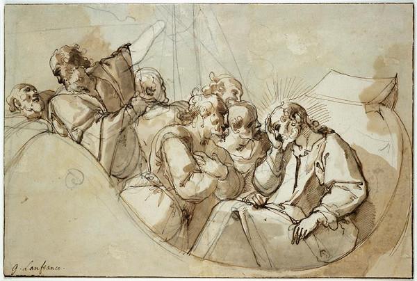 Raffaellino Motta zv. Raffaellino da Reggio – Spící Kristus v bárce za bouře
