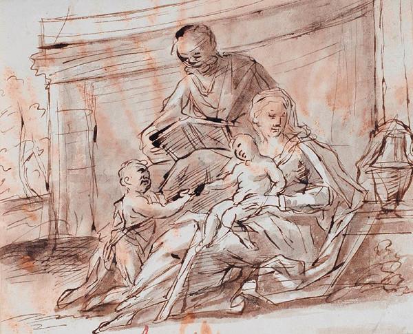 neznámý malíř italský – Sv. rodina se sv. Janem Křtitelem