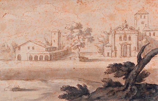 neznámý malíř italský - Krajina s klášterem a kostelem