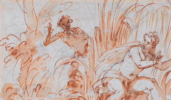 Luca Giordano - Pan a nymfa, verso: Landsknecht