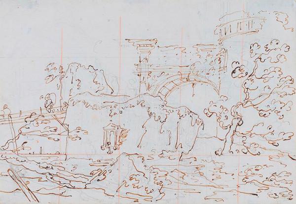 Giovanni Antonio Canal zv. Canaletto – Capriccio: ruiny u laguny