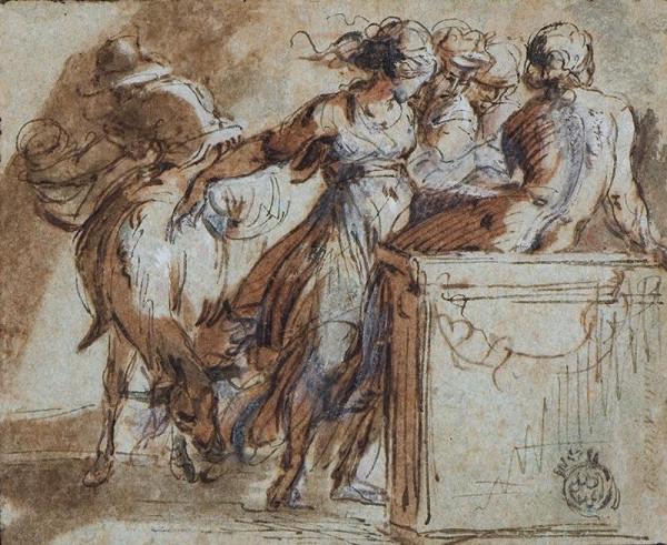 neznámý malíř italský - Skupina postav u obětního oltáře