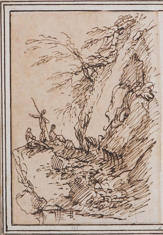 Salvator Rosa – Krajinný úsek s figurální stafáží