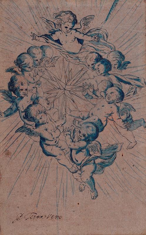 Pietro Testa - podle - Andílci kolem hvězdy Zvěstování