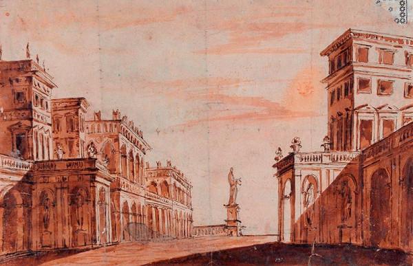 neznámý malíř italský – Náměstí s kolosální sochou
