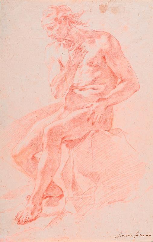 neznámý malíř italský - Sedící mužský akt