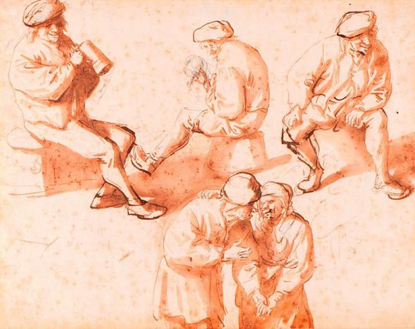 Isaac van Ostade - Studie sedláků