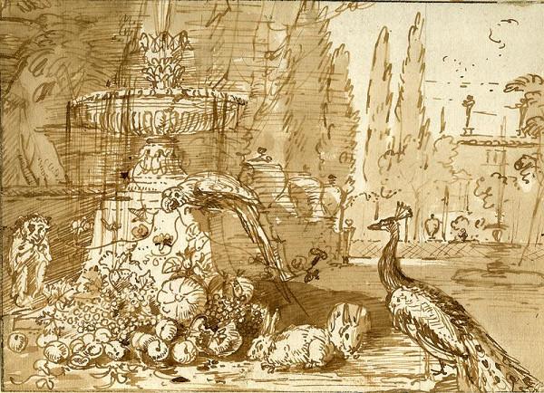 David de Coninck zv. Rammelaer – Zátiší s fontánou a pávem v zahradě