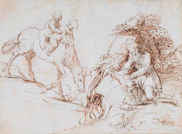 Simone Cantarini zv. il Pesarese  - Figurální výjev (Romulus a Remus?)