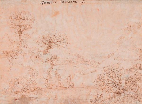 Annibale Carracci(?) - Krajina s hradem a figurální stafáží