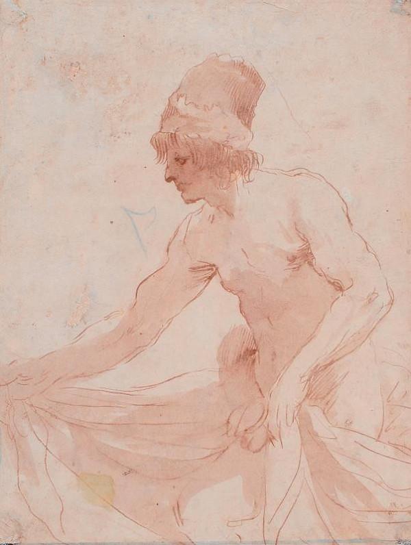 Giov. Franc. Barbieri zv. Guercino - následovník – Figura muže s pokrývkou hlavy