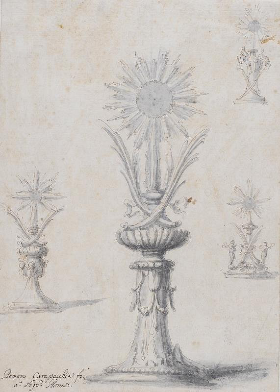 Romano Fortunato Carapecchia - Návrhy na zakončení sloupu Fontany di Trevi