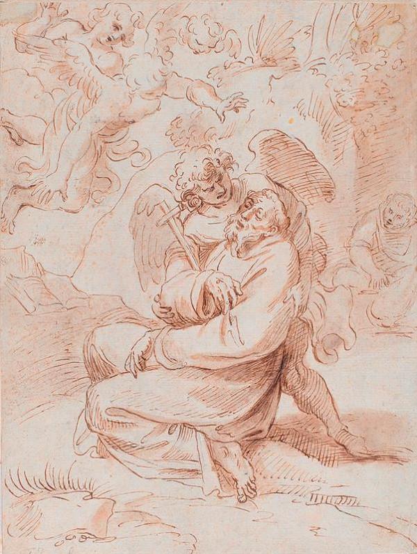 Annibale Carracci - podle - Sv. František v extazi s anděly