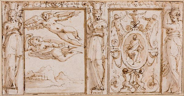 Giorgio Vasari - Návrh na výzdobu stěny