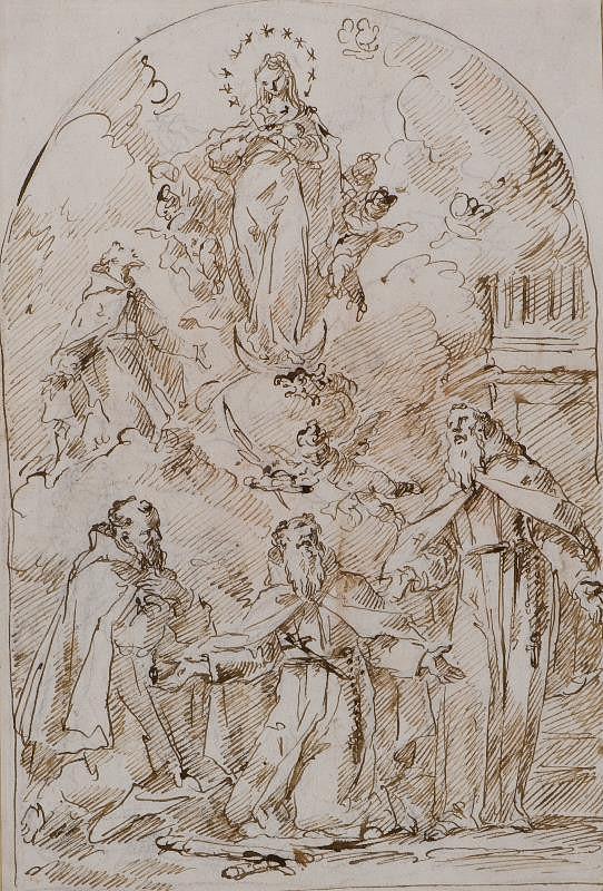 Gaspare Diziani – Immaculata uctívaná františkánskými světci