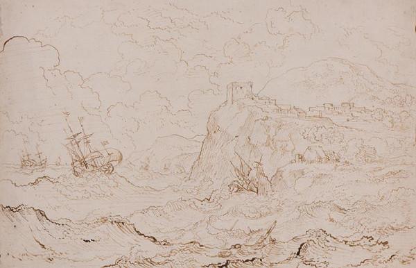 Carlo Antonio Tavella zv. il Solfarola - Lodě u mořského pobřeží