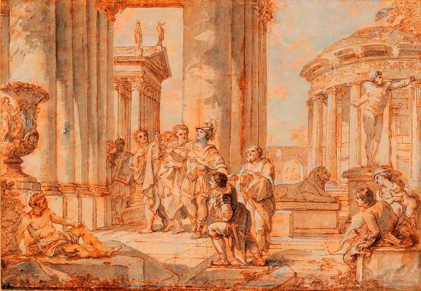 Giovanni Paolo Pannini – Římský vojevůdce před chrámem