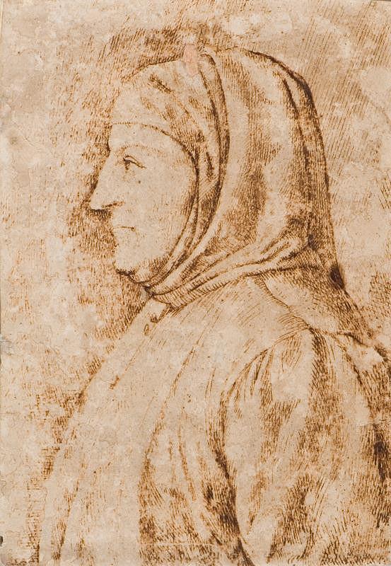 neznámý malíř italský - Poprsí muže z profilu (Francesco Petrarca)