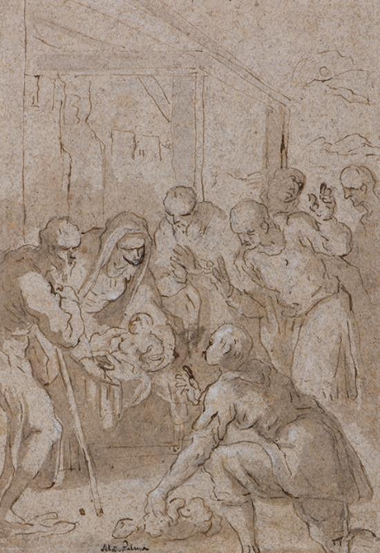 Jacopo Negretti zv. Palma il Giovane - kopista - Klanění pastýřů