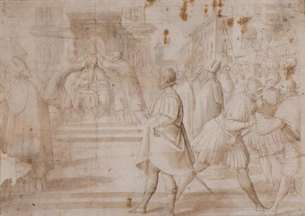 Giov. Mauro della Rovere zv. Fiammenghino - podle - Intronizace papeže na papežský stolec