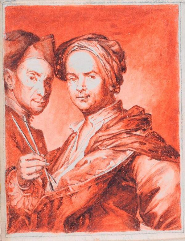 neznámý kreslíř italský - Portrét dvou mužů