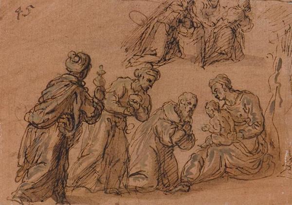 Jacopo Negretti zv. Palma il Giovane - okruh - Klanění tří králů