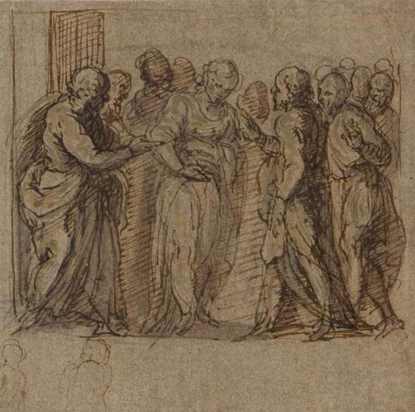 Jacopo Negretti zv. Palma il Giovane - okruh – Cizoložnice před Kristem