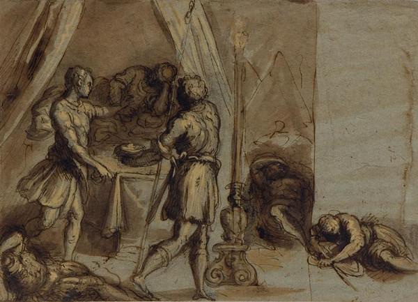 Jacopo Negretti zv. Palma il Giovane - okruh – David před stanem Saulovým