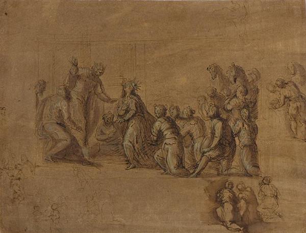 Jacopo Negretti zv. Palma il Giovane - okruh – Příchod královny ze Sáby